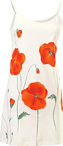 Erwin Müller Damen Nachthemd Spaghettiträger, Nachtkleid, Nachtwäsche Single-Jersey, Mohnblume, Blume Creme Größe 36/38 - hoher