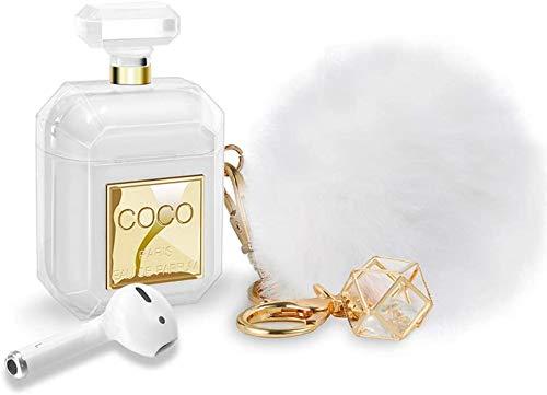 FenYun Funda para AirPods con llavero y bola de piel, diseño de botella de perfume de silicona, suave, a prueba de golpes, para niños y mujeres, regalo de color dorado