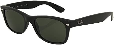 Ray_Ban New Wayfarer Sunglasses (Matte Black Frame 55mm), Matte Black Frame Solid Black G15 Lens, 55 mm