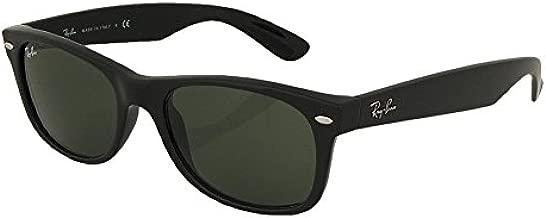 Ray-Ban RB2132 New Wayfarer Sunglasses Unisex (Matte Black Frame Solid Black G15 Lens, 52)