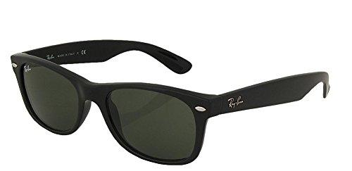 Ray_Ban New Wayfarer Sonnenbrille (matt-schwarzer Rahmen 55 mm), mattschwarzer Rahmen, solides schwarzes G15-Glas, 55 mm