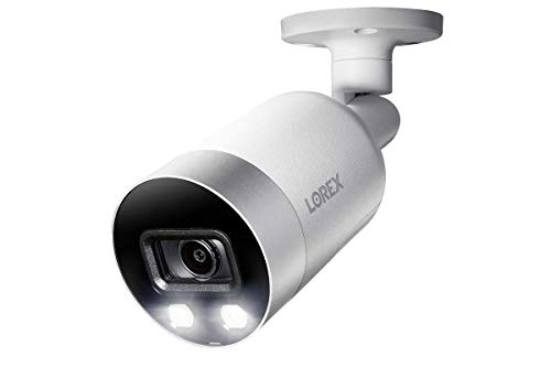Lorex E891AB Indoor/Outdoor 4K Ultra HD Smart Deterrence IP Security Bullet Camera, 150ft IR Night Vision, Color Night Vision, Audio, Only Camera No Cable (Renewed)