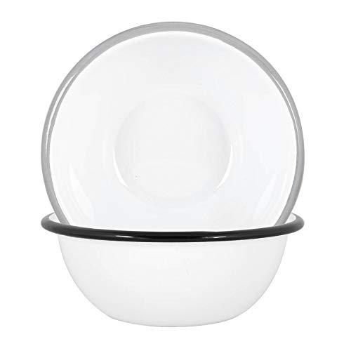 Argon Tableware Cuencos blancos esmalte - acero al aire libre camping Vajilla Vajilla - 16cm - Negro/Gris - Pack de 4
