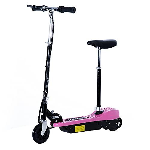 homcom Monopattino Elettrico con Sella per Bambini Pieghevole 120W, velocità Max: 12Km/h in Metallo e PE, 78 × 40 × 96cm, Rosa