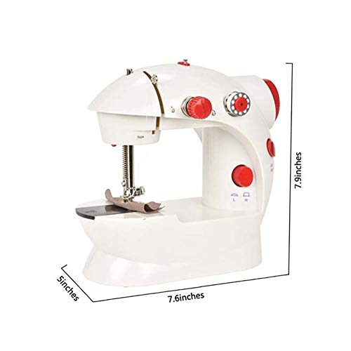 BTSSA Mini Multifuncional Maquina De Coser con Pedal,Sewing Machine,Eléctrica 2 Velocidades Máquina De Coser,Sewing Machine para Ropa, Sábanas,Fundas De Almohadas,Rojo