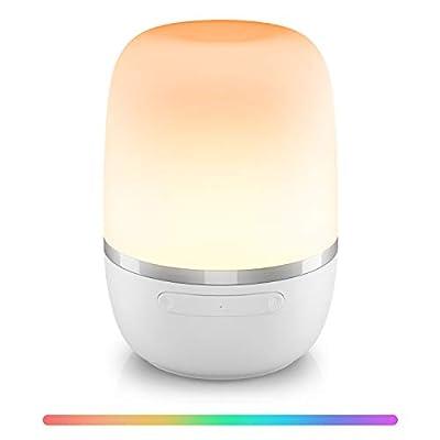 🌙【CONTROL POR VOZ】:Esta lámpara de mesa noche funciona con Amazon Alexa y Google Assistant, control de voz para encender /apagar o atenuar/iluminar su luz, e incluso cambiar el color de la luz. 🌙【COLOR Y BRILLO REGULABLES】:Elige entre luz blanca cáli...