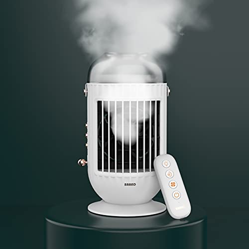 YiChuangMaoYi Ventola di Aria condizionata, umidificatore Spray, Ventilatore Desktop, Potenza eolica a Tre velocità, Telecomando, Muto e USB con la Luce (Color : A)