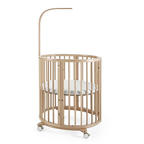 Stokke Sleepi Mini, Natural - 4-in-1 Oval Crib Suitable for 0-6 Months - Adjustable, Stylish & Compact - Optional Bed Extension to Fit Children Up to 10 Years