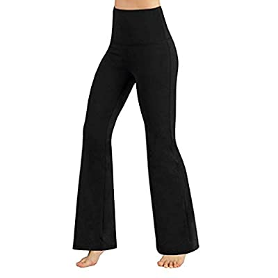 Sinfu Women's Yoga Pants High Waisted Stretch Tummy Control Workout Running Pants Long Bootleg Flare Pants (S) from Sinfu