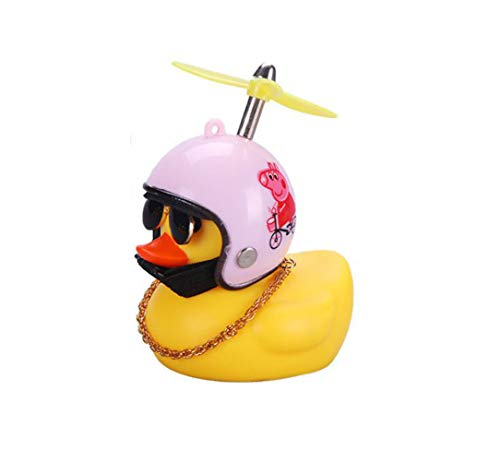 Rubber Duck Toy Car Ornaments, Rubber Yellow Duck Helmet Bicycle Accessories Car Trim Suit Cool Glasses Duck, Handsome Duck Dashboard Interior Decoration Accessories for Adults Men Women Children