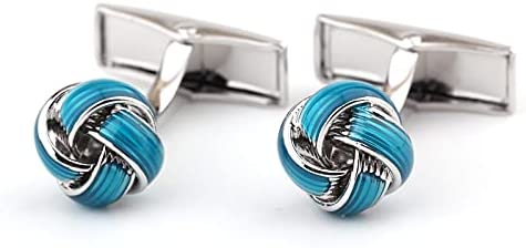BO LAI DE Men's Cufflinks Blue Epoxy Rope Knotted Metal Cufflinks Shirt Cufflinks Suitable for Business Events, Meetings and Dances, with Gift Box