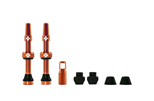 Muc Off 1052 Orange Tubeless Presta Valves, 44mm - Premium No Leak Bicycle Valves with Integrated Valve Core Removal Tool