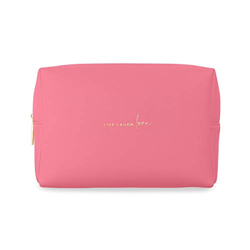 Katie Loxton Live Laugh Love Womens Vegan Leather Cosmetic Toiletry Wash Bag Hot Pink