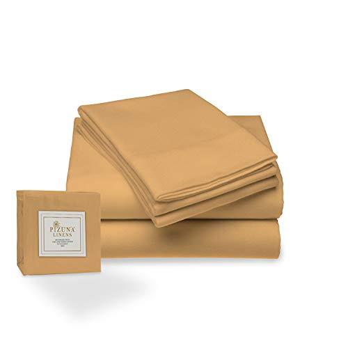Juego de sábana de 400 conteo de Hilos, 4 Piezas de 100% algodón de Fibra Larga, Lujoso Suave Saten Conjunto de Hojas, 1 sábana Adjustable, 1 sábana Plana, 2 Fundas de Almohada (Mostaza - Cama 135cm)