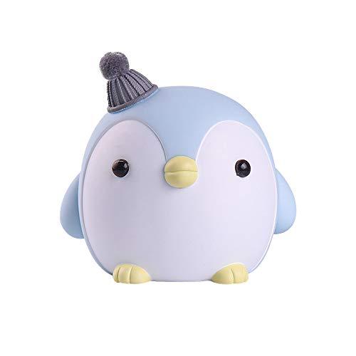 Penguin Piggy Bank Cute Resin Coin Bank StorageCartoon Animal Money Bank Gift for Girls Kids Home Decorations (Blue)