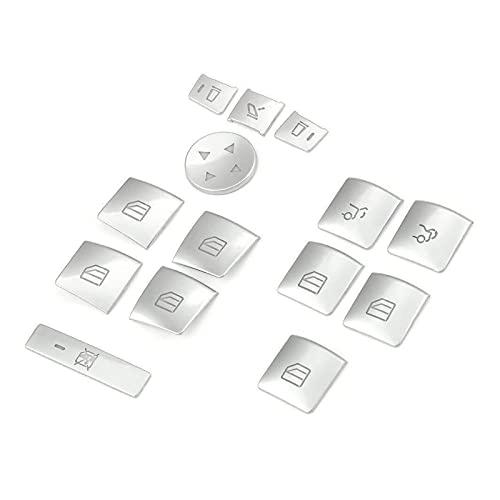 ZHANGHUA Ajuste para el modelo S/X/SLK/GLK X204/G500 /A/B/CLA/C W204/GLA/ML/E W212/GLE W176 W246 ABS Silver Window Lift Button Cover Trim (Nombre del color: Plata)