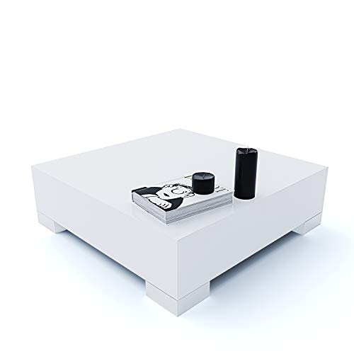 Tavolino Quadrato da Salotto Sala Pranzo Ingresso Soggiorno Studio Tavolo Basso in Legno Con Gambe In Metallo Cromato Lucido, Design Elegante e Moderno, Sechura 60 x 60 x 18 cm (Bianco Lucido Laccato)