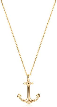 Mevecco Gold Dainty Anchor Pendant Necklace 14K Gold Plated Cute Horizontal Hammered Necklace product image