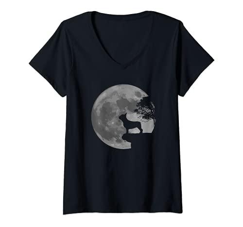 Womens French Bulldog Dog Full Moon Howl Frenchie V-Neck T-Shirt