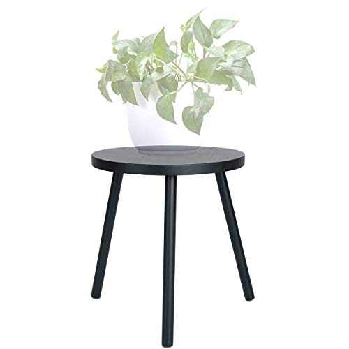 Small Round Side Table, Mid Century Plant Stand, Tall Plant Stand Wood Planter Holder For Flower Pots, Indoor Modern Home Décor - Black (Planter Not Included), Size: 60 * 48cm