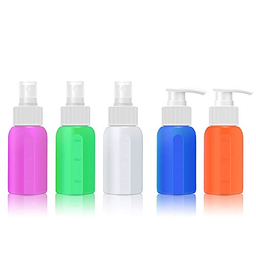 Fine Mist Mini Spray Bottles Set 2 Oz Soap Dispenser with Pump for Hand Sanitizer,Essential Oil,Lotion Silicone Small Travel Bottles Refillable Liquid Cosmetic Bottle for Hair Skin Cleaning