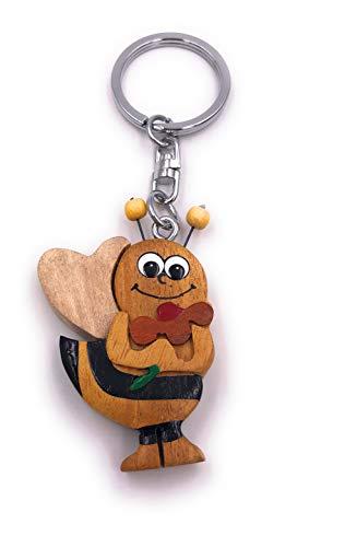 H-Customs Biene Hummel Wespe niedlich Echt Holz Edel Handmade Schlüsselanhänger Anhänger