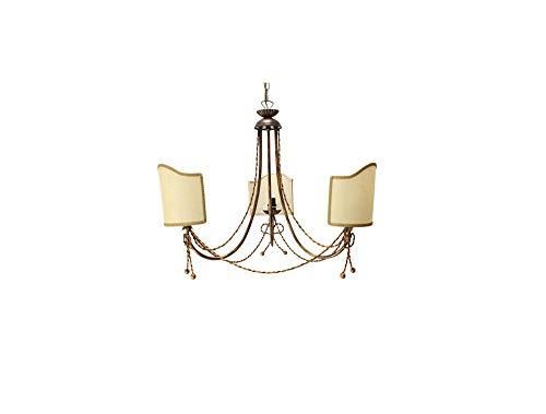 Ilab - Lámpara de techo de hierro forjado con 3 luces, pantalla de pergamino coll.coco, incluye 3 bombillas E14 con casquillo pequeño de 40 W,diámetro: 60cm,altura mínima: 65cm,altura máxima: 115cm