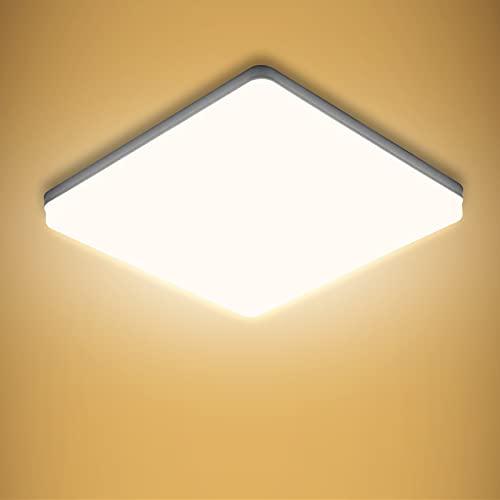 Yafido LED Deckenlampe Ultra Slim 48W 4320Lm UFO LED Panel 3000K Warmweiss Viereckig LED Deckenleuchte für Wohnzimmer Schlafzimmer Flur Büro Küche Küche Balkon und Esszimmer 30 * 30 * 4cm