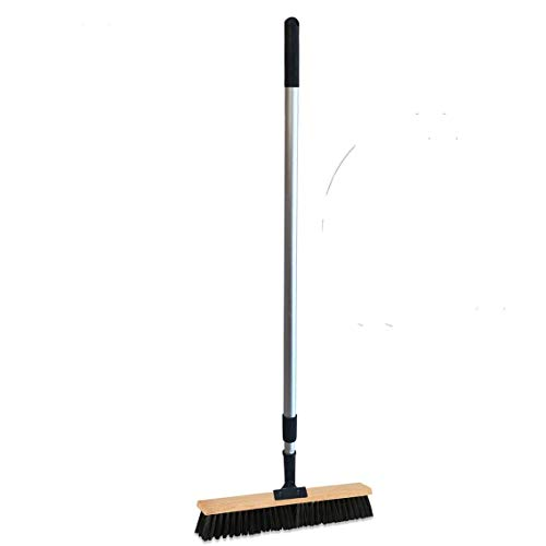 Sweep Stake Professional Swivel Push Broom | 18-Inch Wide Floor Sweeper with Flexible Head and Telescoping Handle