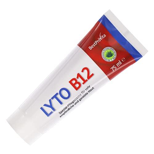 Bestprovita Lyto B12 Pflegecreme 75ml, bei Neurodermitis Juckreiz Schuppenflechte, Creme mit Vitamin B12, Grander-Wasser, ohne Kortison