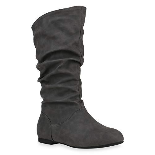 Damen Schlupfstiefel Warm Gefütterte Stiefel Leder-Optik Schuhe 153345 Grau Carlet 40 Flandell