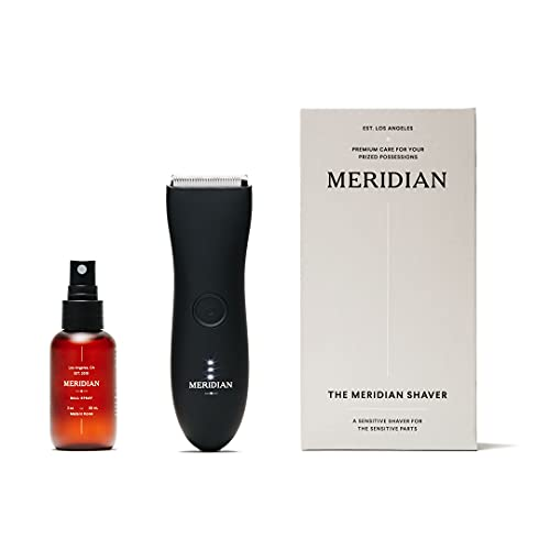 The Complete Package by Meridian: Includes Men's Waterproof Electric Below-The-Belt Trimmer and The Spray (50 mL) - Features Ceramic Blades and Sensitive Shave Tech (Onyx)