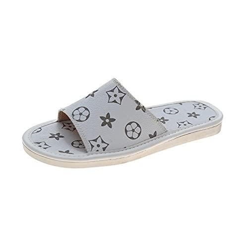 MDCGL Verano Antideslizante Sandalias Zapatillas para Mujer, Hombre, Antideslizante, Masaje, Ducha, SPA, baño, Piscina, Gimnasio, casa, Sandalias para Interior y Exterior, Blanco EU35