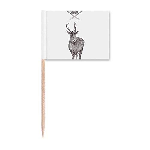 Banderas de palillo de dientes con forma de corona de alce con forma de corona de animal barroco