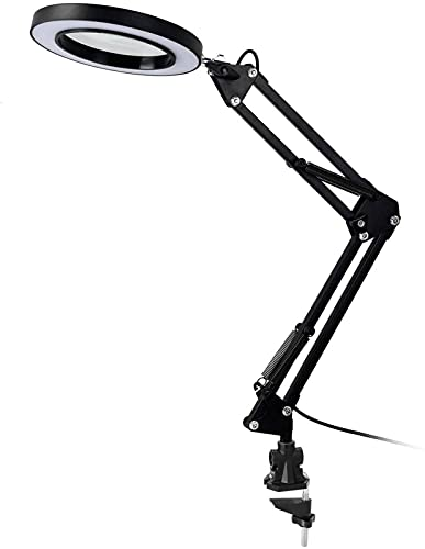 5X Led Vergrootglas Bureaulamp met Klem USB Powered Vergrootglas 3 Kleur Metaal