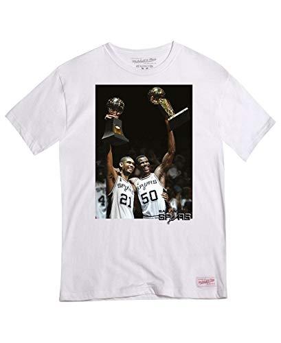 Mitchell & Ness San Antonio Spurs Photo Real NBA - Camiseta, Color Blanco, Blanco, Extra-Large