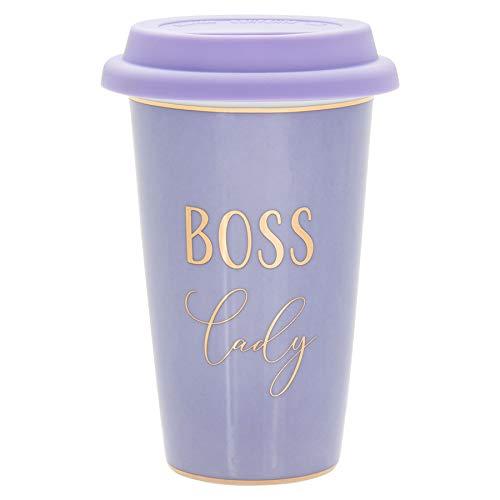 Fine China Purple Travel Mug - Silicone Lid, Gold Wording and Trim - Boss...