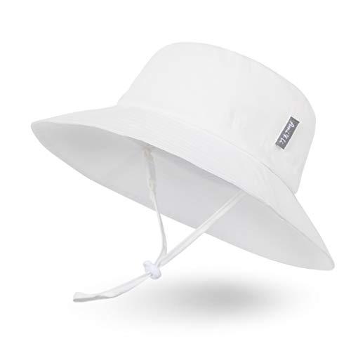 Sombrero de Sol para Bebé Niña Niño Infantil Niños Pequeños Unisexo Ajustable Sombrero Bob Protección Solar UPF 50-M:Marfil Blanco