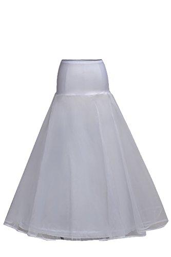 Babyonlinedress® Elegant Damen Satin Petticoat A-Linie Unterrock Reifrock für Abendkleider Brautkleid Hochzeitskleid Weiß