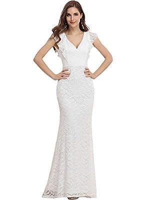 Ever-Pretty Womens Ruffle Sleeve Bodycon Long Bridesmaid Dresses White US4