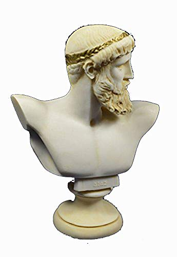 Zeus Sculpture Bust Ancient Greek God King of All Gods Statue Aged