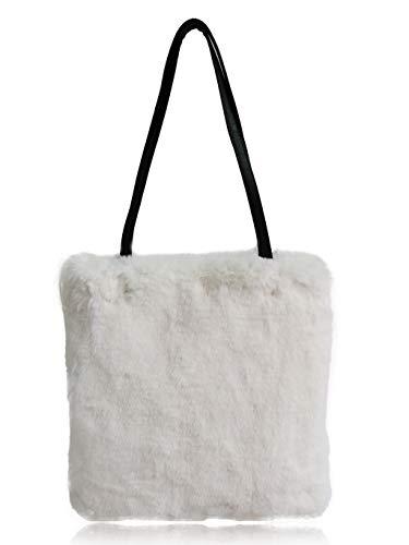 FHQHTH Kunstpelz Einkaufstasche |Plüsch Umhängetaschen | Handtaschen Fuzzy Taschen Damen| [Reißverschluss] - Weiß|Groß