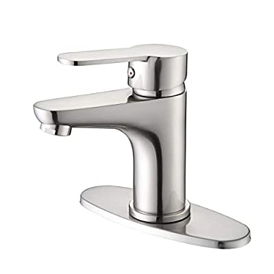 Bathroom Faucet Modern Single Handle Bathroom Sink Faucet with Water Supply Lines and Deck Plate for Bath Vanity Lavatory Vessel, DIY Farmhouse Style on a Budget, Rv Vessel Basin Lavatory Mixer Tap