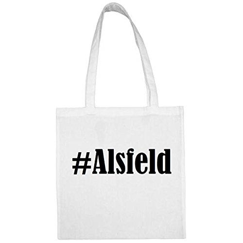 Tasche #Alsfeld Größe 38x42 Farbe Weiss Druck Schwarz