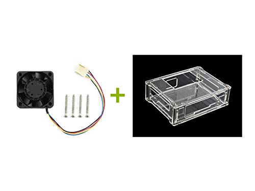 Waveshare Acrylic Clear Hülle (Type A) and Dedicated Cooling Fan for Jetson Nano Developer Kit PWM Speed Adjustment Strong Cooling Air