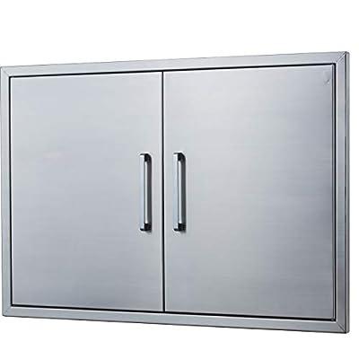 "Outdoor Kitchen Doors Stainless Steel,30"" Double Access Door,Flush Mount for Outdoor Kitchen and BBQ Island"