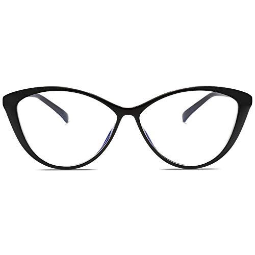 SOJOS Blaulichtfilter Brille Damen Cateye Computer Brille ohne Sehstärke Anti-Blaulicht Gläser Übergroß SJ5057 mit Schwarz Rahmen/Anti-blaulicht-linse