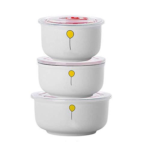 CHUTD Tazones para Mezclar Aptos para microondas con Tapa, tazones de cerámica para preparación, Juego de 3, recipientes para almacenar Alimentos, para Ingredientes, Almacenamiento, 15/22/30 onzas