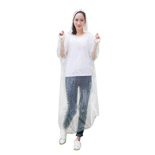 Ewendy 15pc Einweg-Regenmantel Regenponcho für Frauen & Männer für den Ausflug Wandern (Weiß)