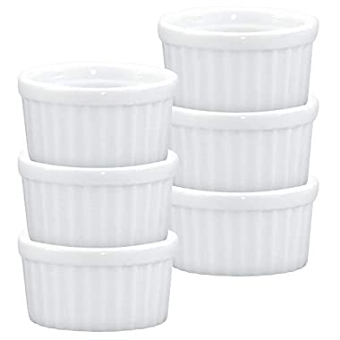 HIC Ramekins, Fine White Porcelain, 2.5-Inch, 2-Ounce Capacity, Set of 6